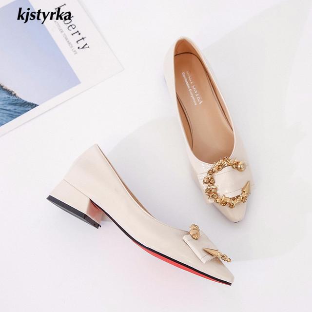 kjstyrka 2018 brand designer spring autumn metal decoration pointed toe women shoe hallow elegant ladies low heels zapatos mujer