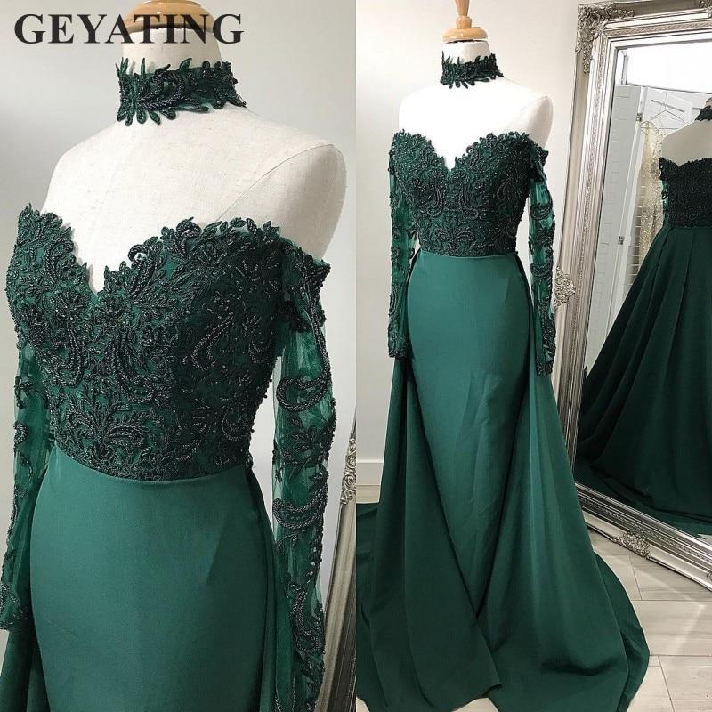 Emerald Green Lace Long Sleeves Mermaid   Evening     Dress   with Detachable Skirt Off Shoulder Arabic Elegant Long Formal Prom   Dresses