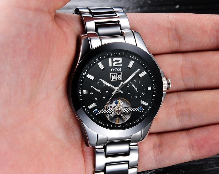 ANGELA BOS Moda Marca de Lujo Reloj Esqueleto Hombres Mecánico - Relojes para hombres - foto 4