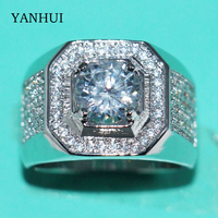 YANHUI Luxury Original 925 Sterling Silver Rings Men Jewelry Full CZ Zirconia Diamant Engagement Wedding Band
