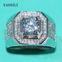 YANHUI Luxury original 925 Sterling Silver Rings Men Jewelry Full CZ Zirconia Diamant Engagement Wedding Band Rings For Men R225