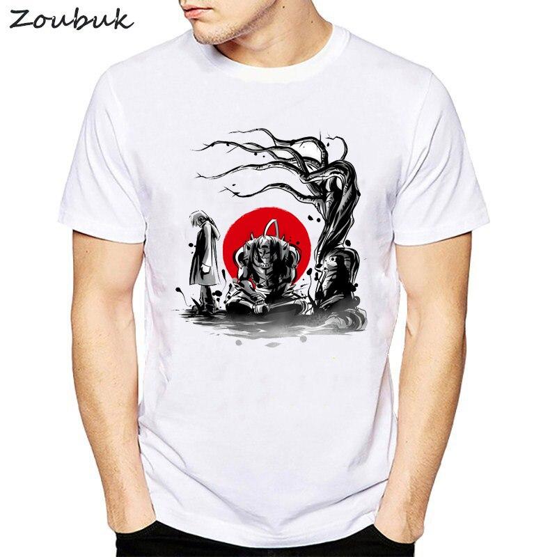 Men's Fullmetal Alchemist Japanese Anime Sumi   T  -  shirt   Short sleeve O-Neck Tops Tees Summer Casual   T     shirt   men harajuku tshirts