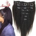 Virgin Peruvian Coarse Yaky Clip In Human Hair Extensions Afro Kinky Straight Clip On Hair Extension Long Hai Italian Yaki Weave