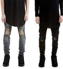 2016 новых людей тощий черные джинсы Тонкий стретч torn хип-хоп мужская мода случайные джинсы 28-36 Бесплатная Доставка доставка