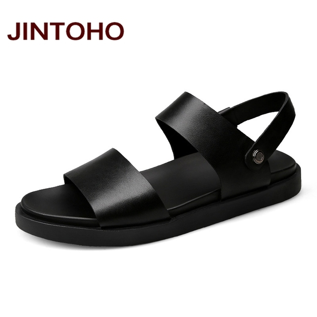JINTOHO 2017 New Men Sandals High Quality Men Leather Sandals Summer Beach Men  Shoes Leather Slippers