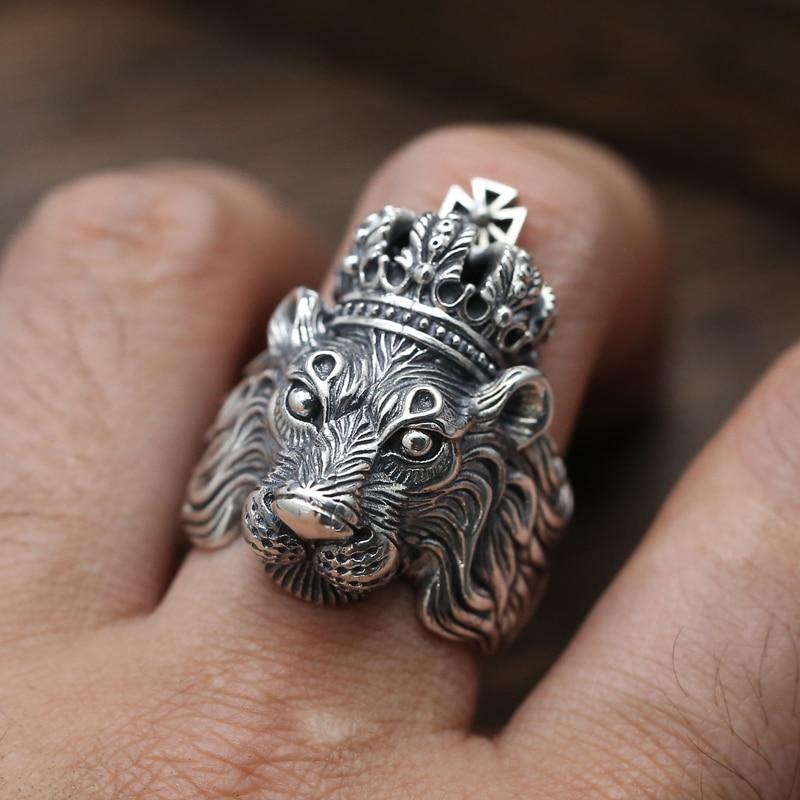Argent massif 925 couronne Lion Chunky anneaux pour hommes bande épaisse solide 925 bijoux en argent Sterling hommes haut à la mode Cool mâle anneau