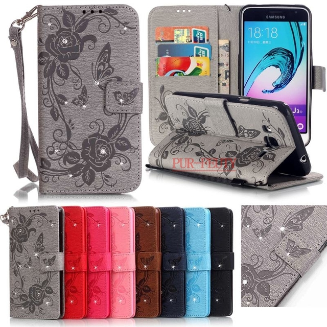 new products 00961 d5b60 US $4.73 5% OFF|For Coque Samsung Galaxy J3 2016 Case Leather Wallet Cell  Phone Cases Samsung Galaxy J3 6 2016 Case Flip 3D Diamond Bling Cover<-in  ...