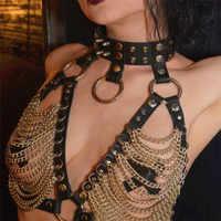 Faux Leder Crop Top Mit Niet Choker Goth Punk Frauen Aushöhlen Link Ketten Tank Tops Sexy Festival Rave Top club Party Camis