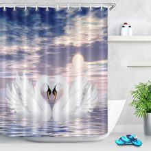 LB Shower Curtains Two White Cute Swans in Love Blue Sky Sea Beach Bottom Pineapple Bathroom Curtains for Bath Tub Home Decor(China)