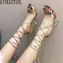 AIYKAZYSDL Для женщин искусственная змея кожа Летние лодочки с перекрестными ремешками, высокий каблук смешанные Цвет летние ботинки-гладиаторы, Босоножки в римском стиле на высоком каблуке-шпильке