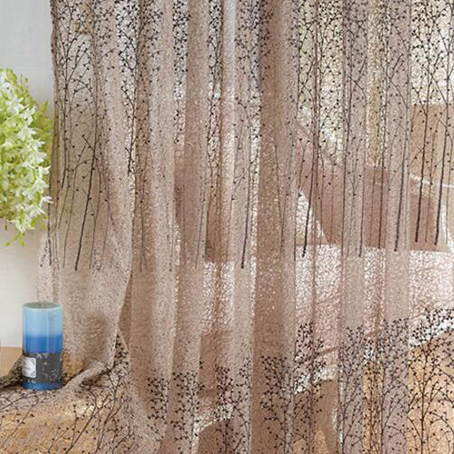 Designer Curtain Embroidery Small Trees Tulle Windows Transparent Sheer Fabric Curtains Ready Made Rustic Yarn 37620