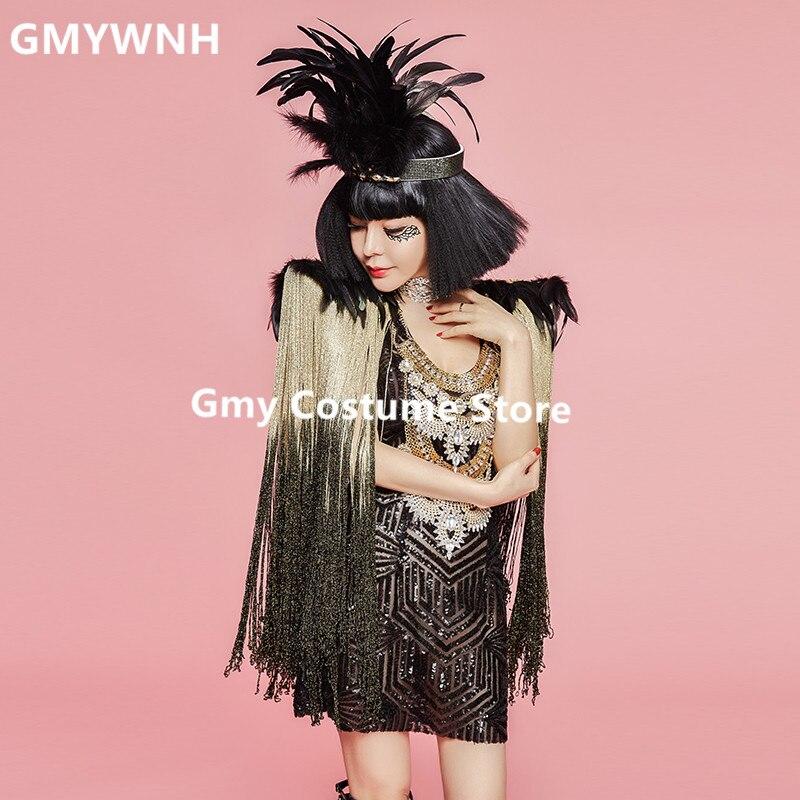 Z02 Chanteur gland robes danseur de salon costumes dj porte jupe sexy Sequin outfit performance vêtir défilé femmes robe