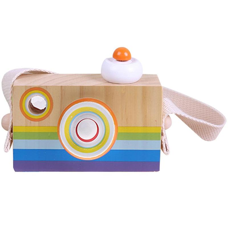 Wooden Lovely Cute Camera Toys Baby Children Educational Toys Birthday Gifts Funny Camera Toys Room Decor with Strap