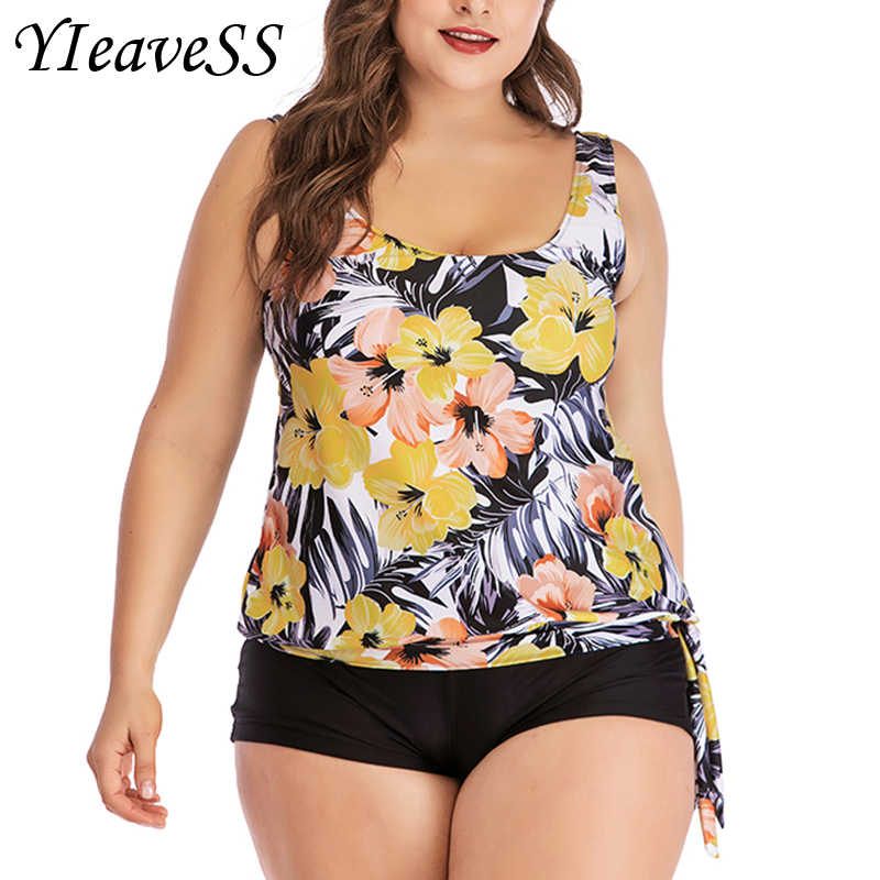 Hoge Cut Swimdress Plus Size Tankini Zwemkleding bloemenprint Badmode Vrouwen Dames Push Up Met Shorts Sport Twee Stukken 5XL