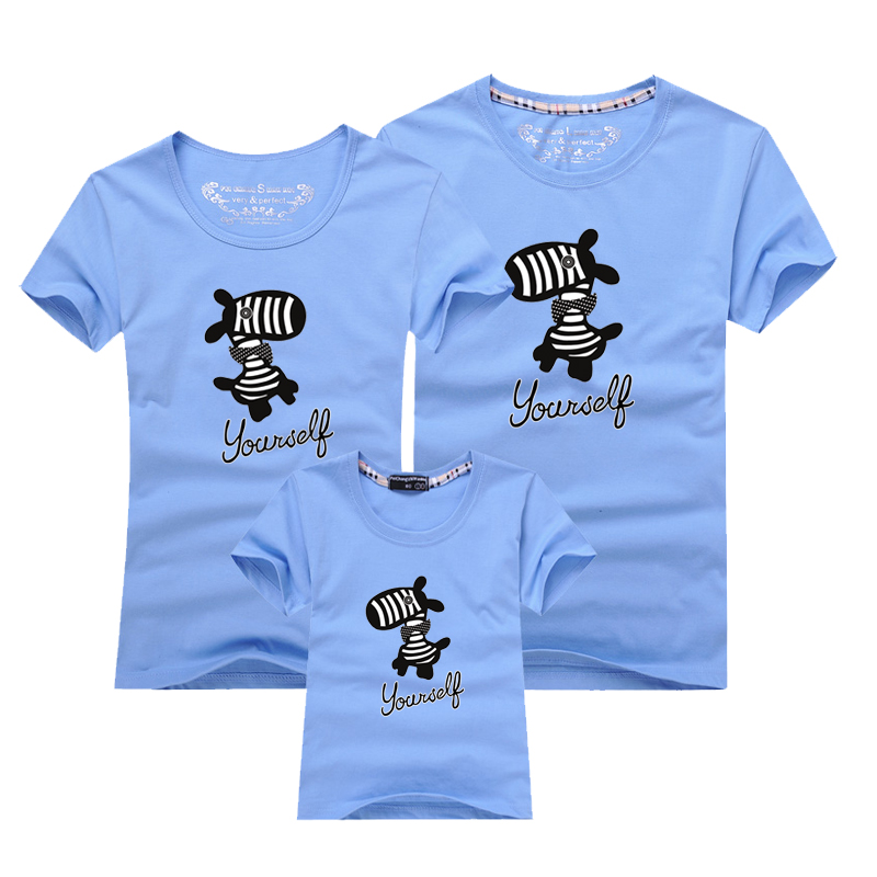 AD Cute horse pattern family matching clothing Cotton Fabric father mother daughter son summer t-shirts 2015 summer family clothing sets mother father child matching dad mom daughter son t shirt and shorts family look ma e filha