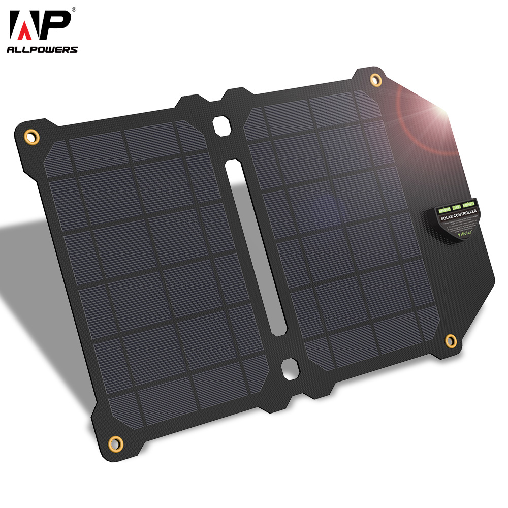 ALLPOWERS 14W Solar Charger 5v 2.4A Dual USB Solar Panel Power Charger Foldable Power Bank for Smartphones 20w solar charger 5v dual usb solar panel power charger foldable power bank for smartphones