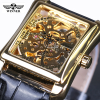 Casual Fashion Men S Watches Men Luxury Brand Skeleton Dial Leather Strap Mechanical Watch Vintage Reloj