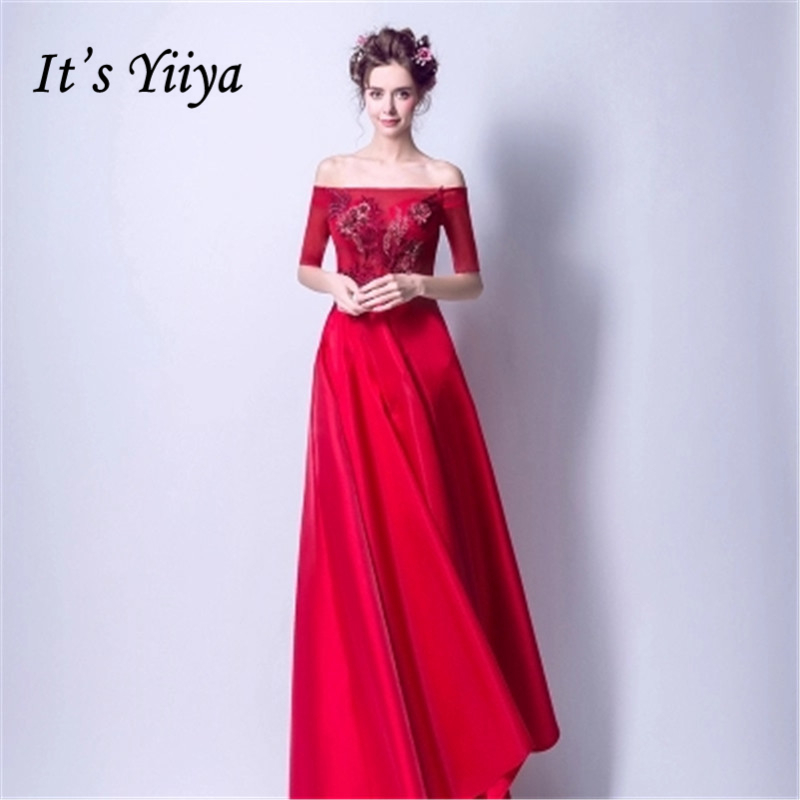 It's Yiiya   Prom     Dresses   2018 Red Boat Neck Lace Up   Prom   Gowns Embroidery Floor Length Party   Dresses   Formal   Dresses   LX893