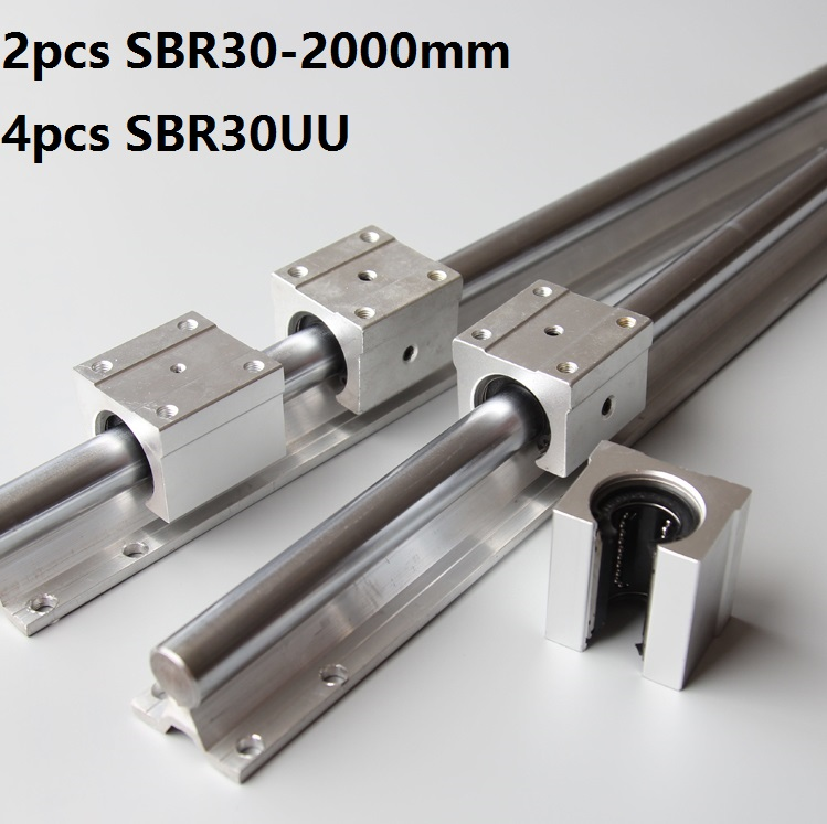2pcs SBR30 30mm 2000mm Support Linear Guide Rail With 4pcs SBR30UU Linear Bearing blocks CNC Router  2pcs SBR30 30mm 2000mm Support Linear Guide Rail With 4pcs SBR30UU Linear Bearing blocks CNC Router