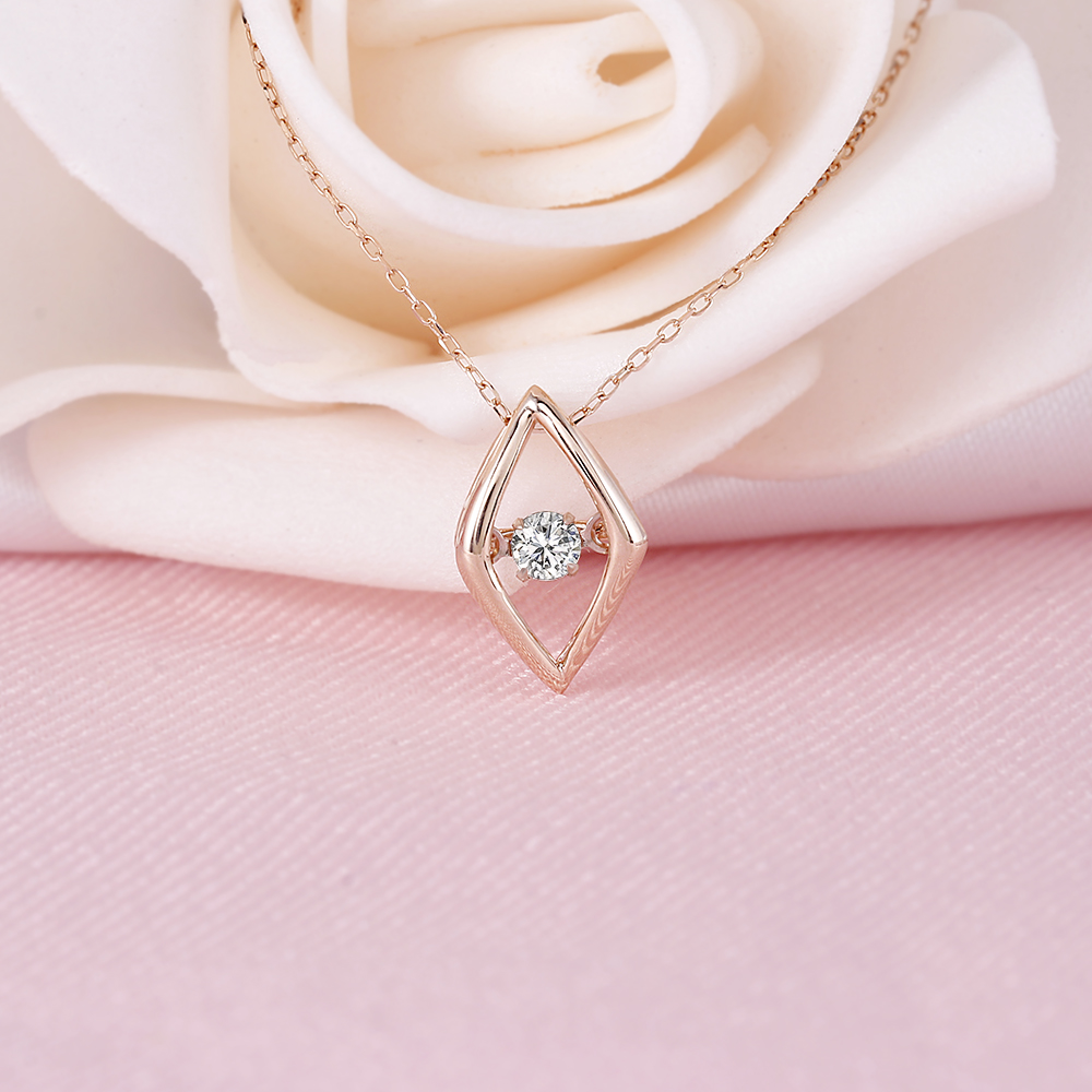 3cbc3831204f DovEggs 10K Rose Gold 0.1ct carat Diamond Dancing Setting Pendant Necklace  For Women Rose Gold Link Chain Rhombus Necklaces-in Necklaces from Jewelry  ...