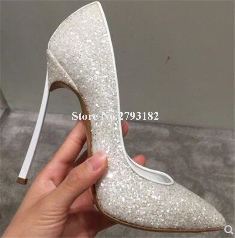 Ladies Bling Bling Sequined Pointed Toe Metal Stiletto Heel Pumps Luxury Crystal 12cm High Heels Wedding Shoes Dress Shoes профессиональный динамик нч sica 12fe3cp 4 ohm