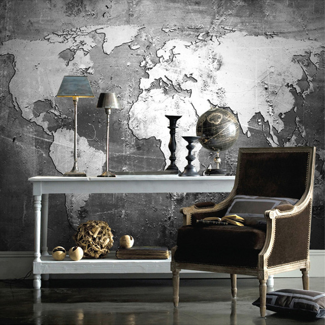 Customized size high quality 3d world map wall mural for office customized size high quality 3d world map wall mural for office study living room retro black gumiabroncs Image collections