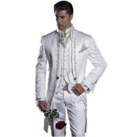 2018 Embroidery Groomsmen Mandarin Lapel Groom Tuxedos White Men Suits Wedding/Prom Best Man Blazer (Jacket+Pants+Vest)