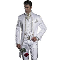 2018 Embroidery Groomsmen Mandarin Lapel Groom Tuxedos White Men Suits Wedding/Prom Best Man Blazer (Jacket+Pants+Vest)