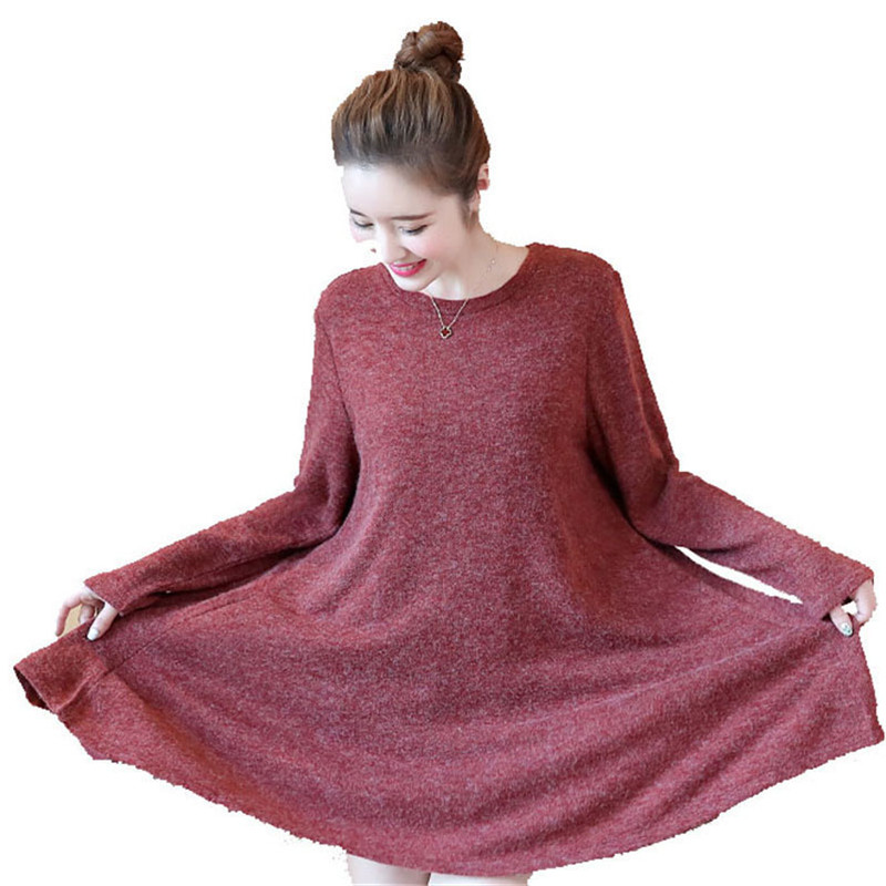 2018 Fashion Spring Autumn Korean Plus Size Women's Loose Dress Casual  Bow Pullovers  Female Large Size Knitted Sweater J9 2018 spring new arrival fashion sweater female full sleeve fungus edge pattern pullovers high quality knitted slim casual tops