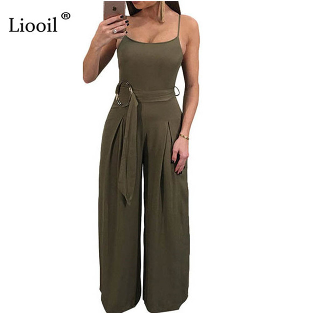 0539c4302d Liooil Black Army Green Tank Women Jumpsuits Long Pants Cold Shoulder  Backless Wide Leg Sashes Sexy Club Rompers Womens Jumpsuit