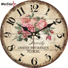 MEISTAR Vintage Clock Flower Design Silent Living Kitchen Home Decor Watches Retro Large Art Wall Clocks 4 Size horloge murale