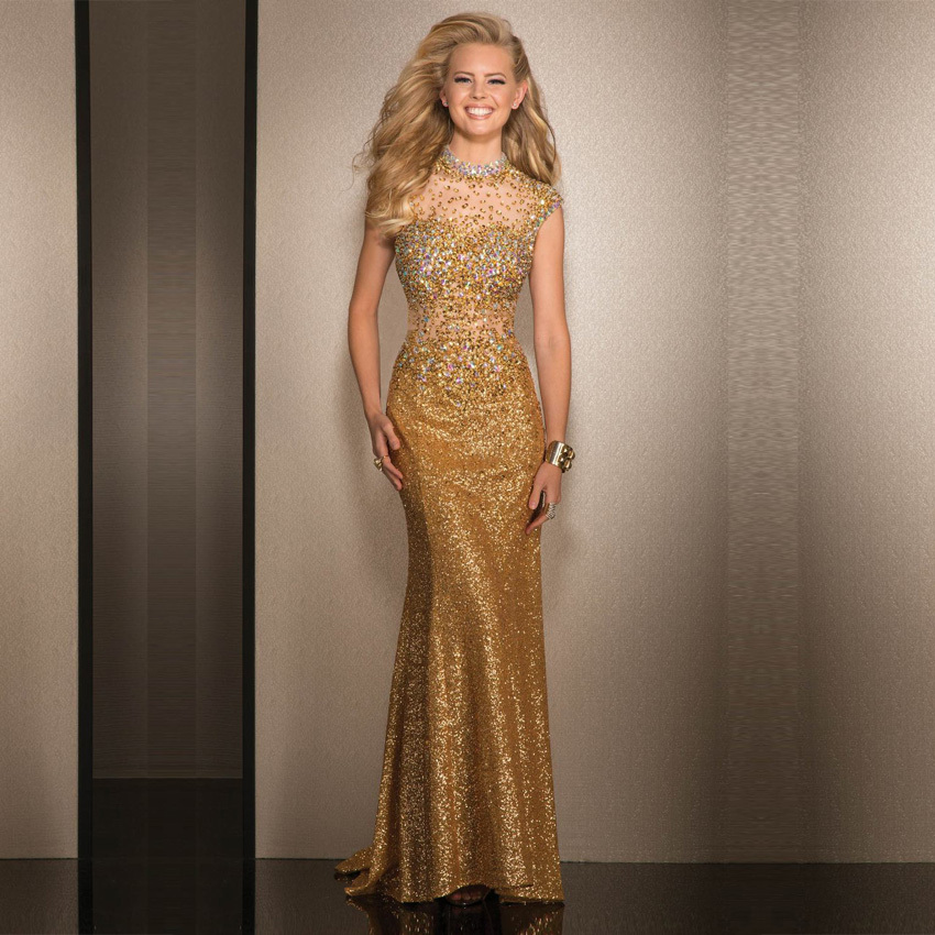 Luxury Crystal Gold Mermaid Evening Dress 2016 Long Sequin See Through Formal Gowns Prom Dresses Vestidos De Noite In From