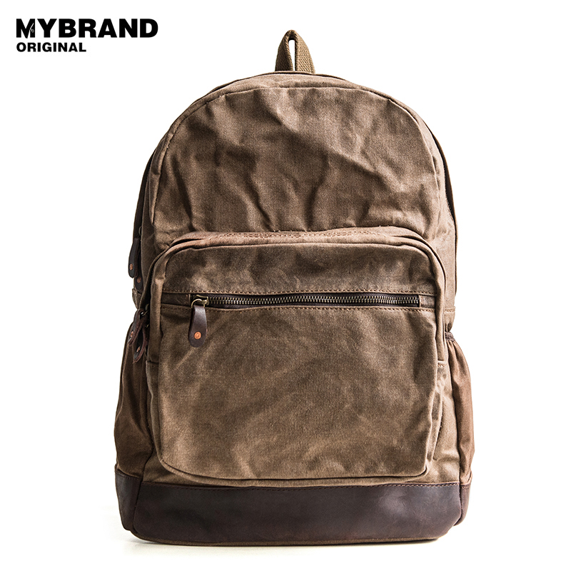 MYBRANDORIGINAL backpack wax canvas school bag vintage 14 inch laptop notebook backpack for man men's travel bag B106 dy0606 ladies bag 15inch women backpack suit for 14 15 notebook laptop bag student school bag travel mountaineering bag