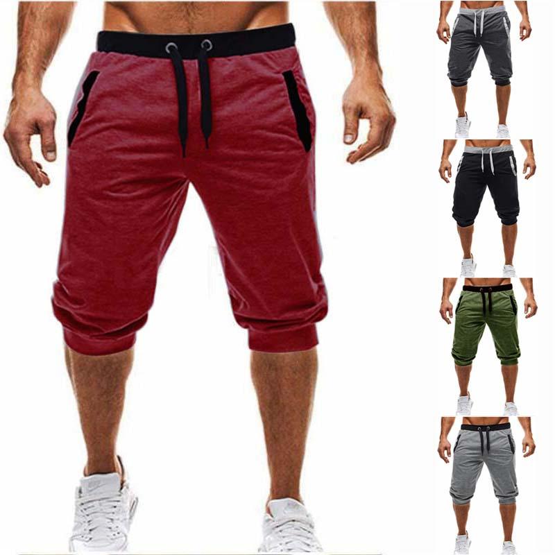 2019 marca de calor na altura do joelho calções masculinos longos cor retalhos jogger esportes bermuda shorts casuais masculina