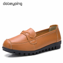 dobeyping Spring Autumn Woman Shoes Genuine Leather Women Flats Slip On Women's Loafers Female Sewing Shoe Large Size 35-41 цена в Москве и Питере