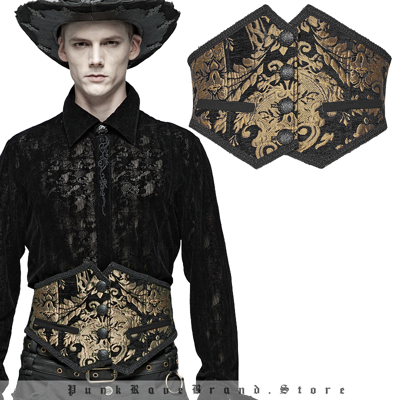 PUNK RAVE Men s Gothic Gorgeous Court Retro Jacquard Embroidered Woven Girdle Stage Perform Club Party