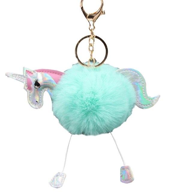 Alta Qualidade Anime Brinquedo Do Cavalo Bonito Mulheres Pingente de Metal KeyChain Unicórnio Brinquedo de Pelúcia Fofo Pom Pom Pele Saco Chaveiro Pendurar brinquedo de pelúcia