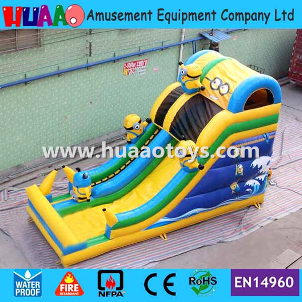Commercial minions inflatable Slide with CE blower and PVC bag and repair kit
