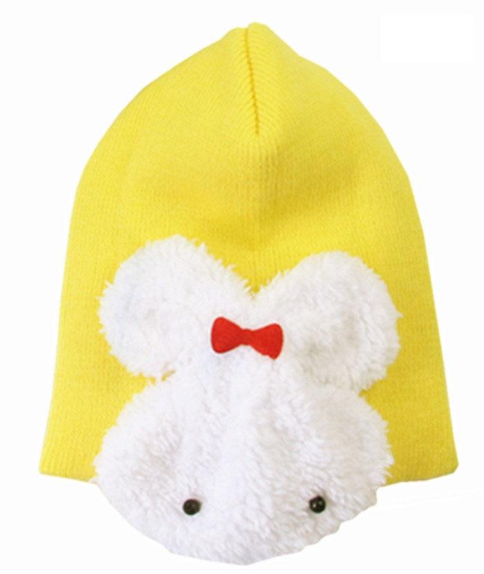 1 шт., 5 цветов, хлопковая шапка с рисунком кролика, детские шапки, детская шапка - Цвет: yellow