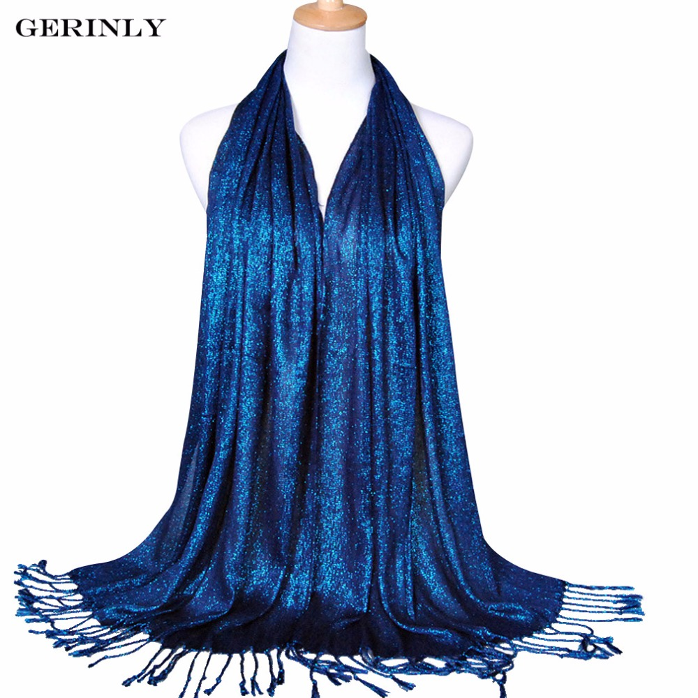 GERINLY   Scarf   Women Plain Shimmer Glitter Hijabs Muslim   Wrap   Viscose Lurex Long Shawls   Scarves   Foulard Femme 170x60cm Bufandas