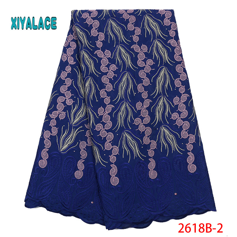 African Lace Fabric Swiss Voile 2019 High Quality Lace African Dresses For Wedding Lace Cotton Stones Lace Party Dress YA2618B-2