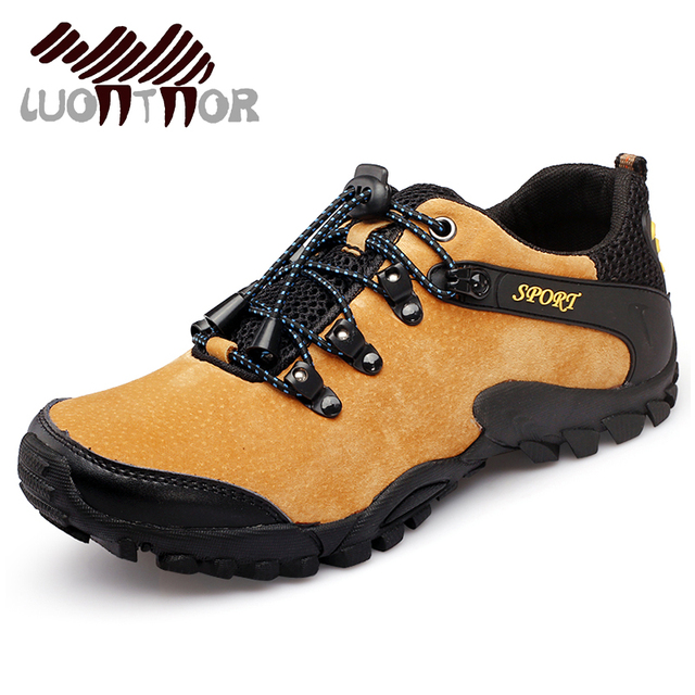 LUONTNOR Real Leather Men Hiking Shoes Outdoor Trail Climbing Shoes Camping Wearable Antiskid Trekking Shoes Man High Quality