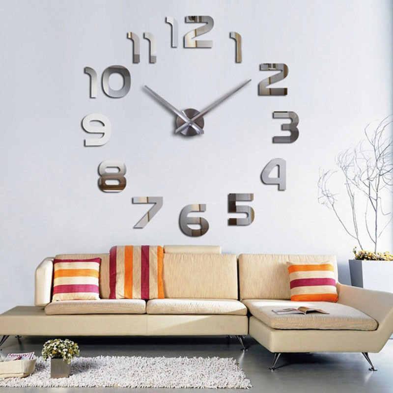 Зеркальные настенные часы настенные Спальня квадратная Геометрическая крутая креативная домашний декор
