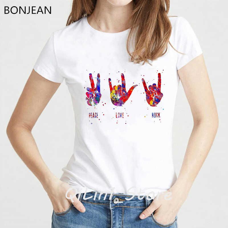 חדש קיץ אופנה נשים חולצה בצבעי מים אני אוהב אותך ASL סימן שפה הדפסת טי חולצה femme מצחיק harajuku חולצת טי נקבה