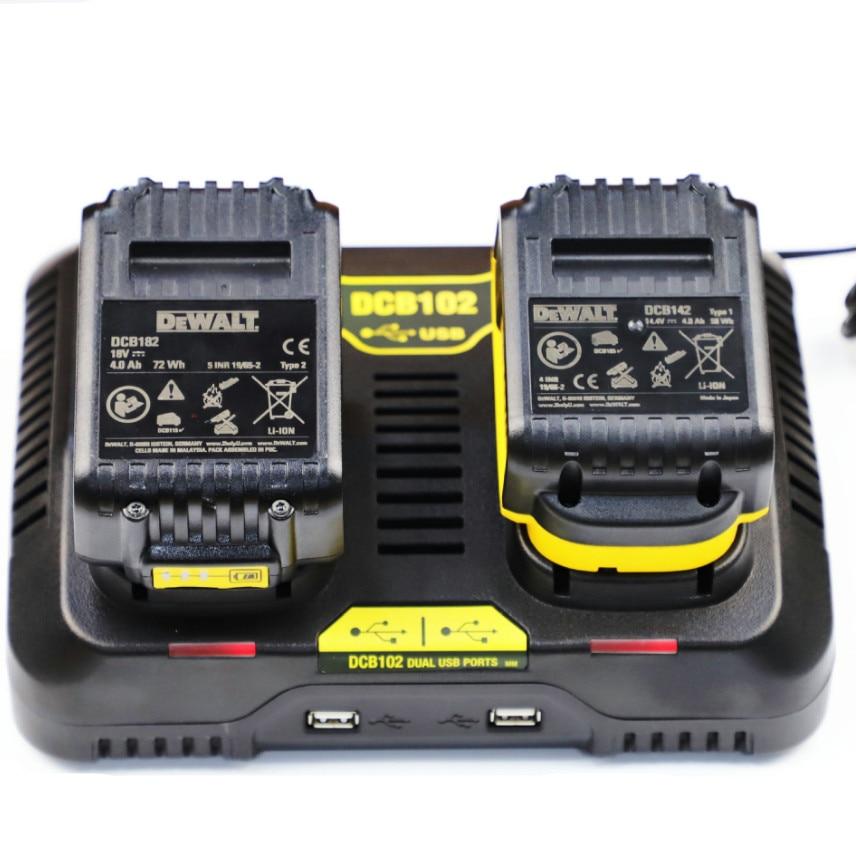 Hot double charging postion with Dual USB Port DCB102 Li-ion Battery charger For DeWalt 12V 14 4V 18V 20V DCB200 DCB201 fast