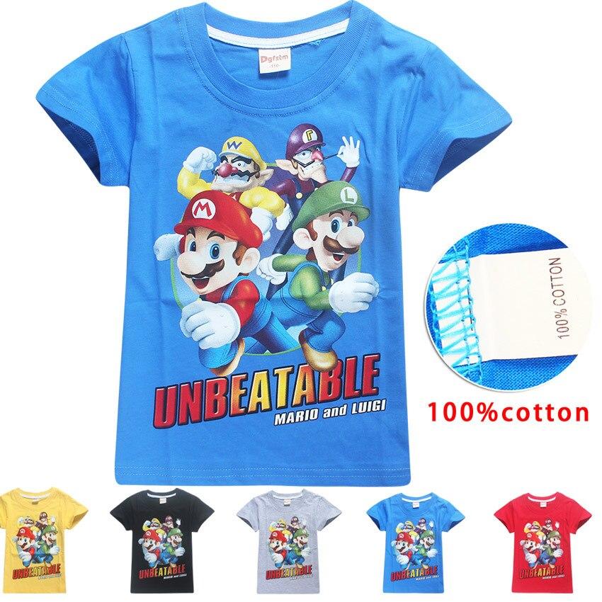 2018 дети новый мультфильм Марио печати футболка с короткими рукавами для мальчиков и девочек 100% хлопок футболка одежда детская футболка топ...
