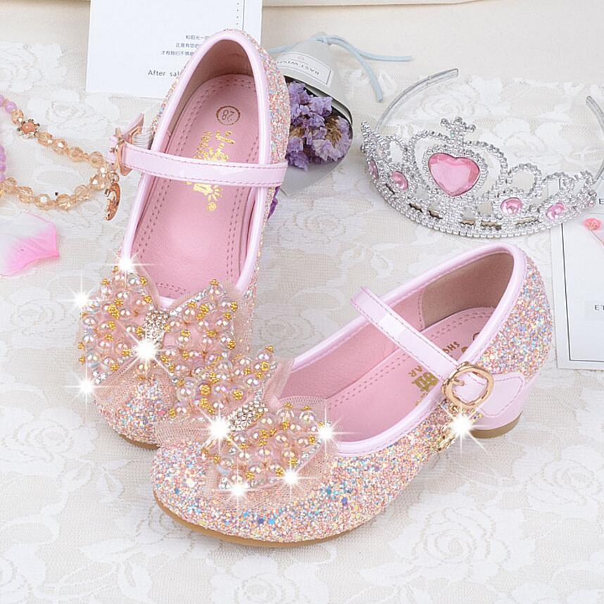 KKABBYII Elegant Girls Shoes Bead Bow Fashion Princess Shoes Children Girls Dance Halloween Christmas Party Shoes