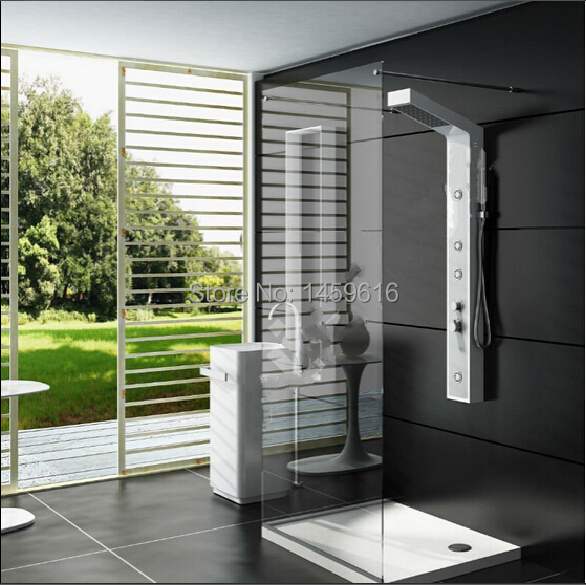 wall hung solid surface stone shower panel with led shower and faucet shower column wd0037