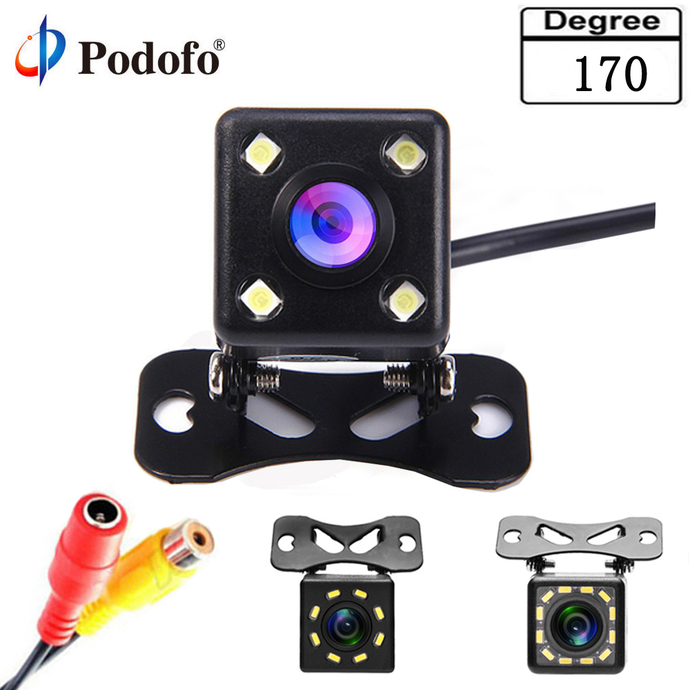 все цены на Podofo 170 Degree Universal Waterproof Wide Lens 4 LED Car Rear View Camera Vehicle Parking Assistance Night Vision,Parking Line онлайн