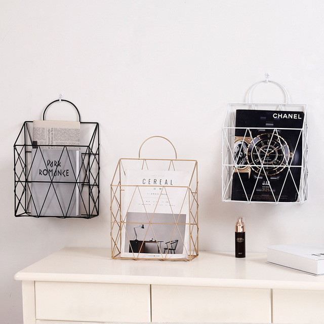 Bathroom Hardware Simple Wrought Iron Tabletop Metal Newspaper And Debris Decoration Storage Basket Hangable Portable Rack